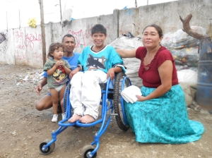 Emanuel in new wheelchair